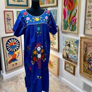 Vintage Handmade Peasant Embroidered Shift Dress